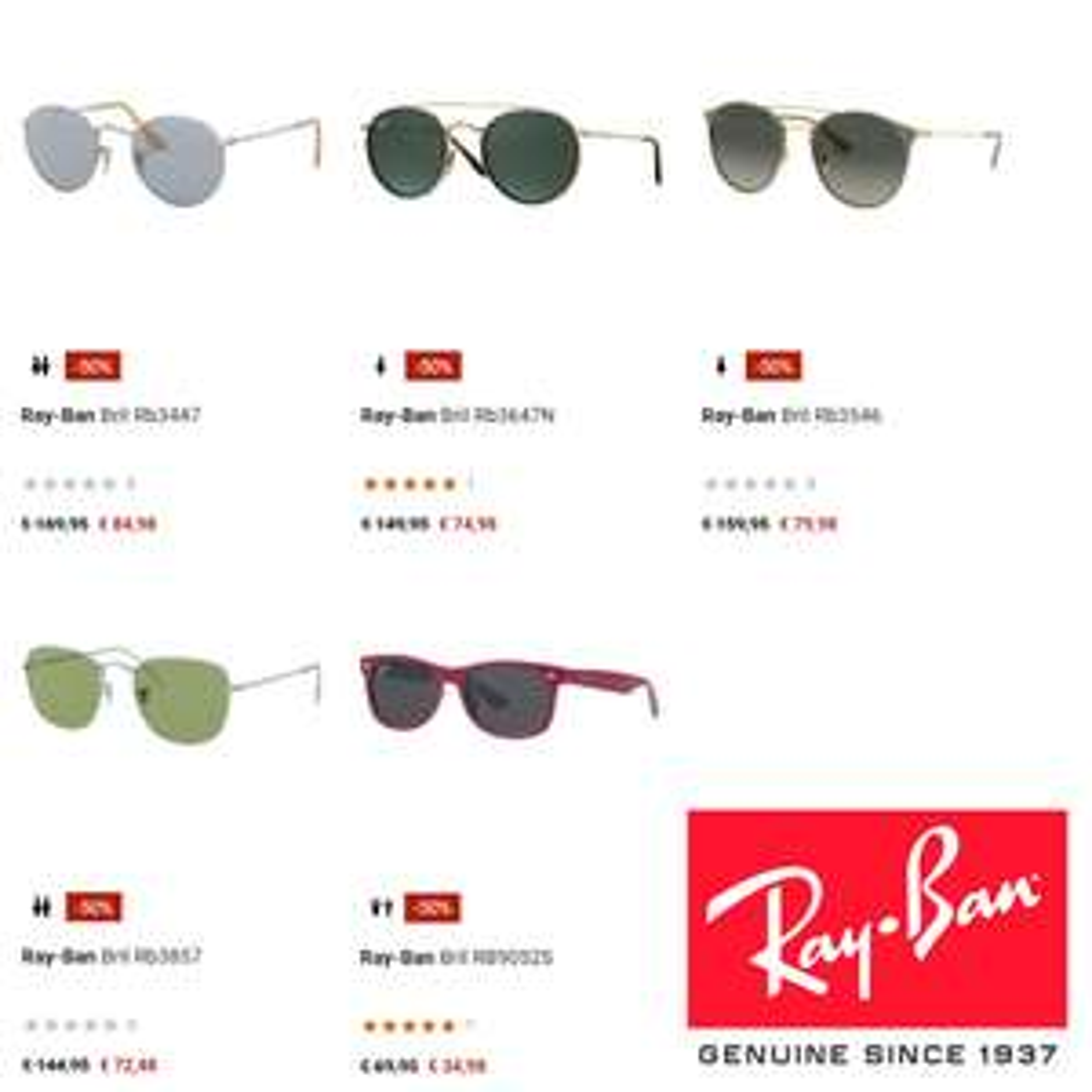 Ray-Ban zonnebrillen -50% [5 modellen] @ A.S.Adventure
