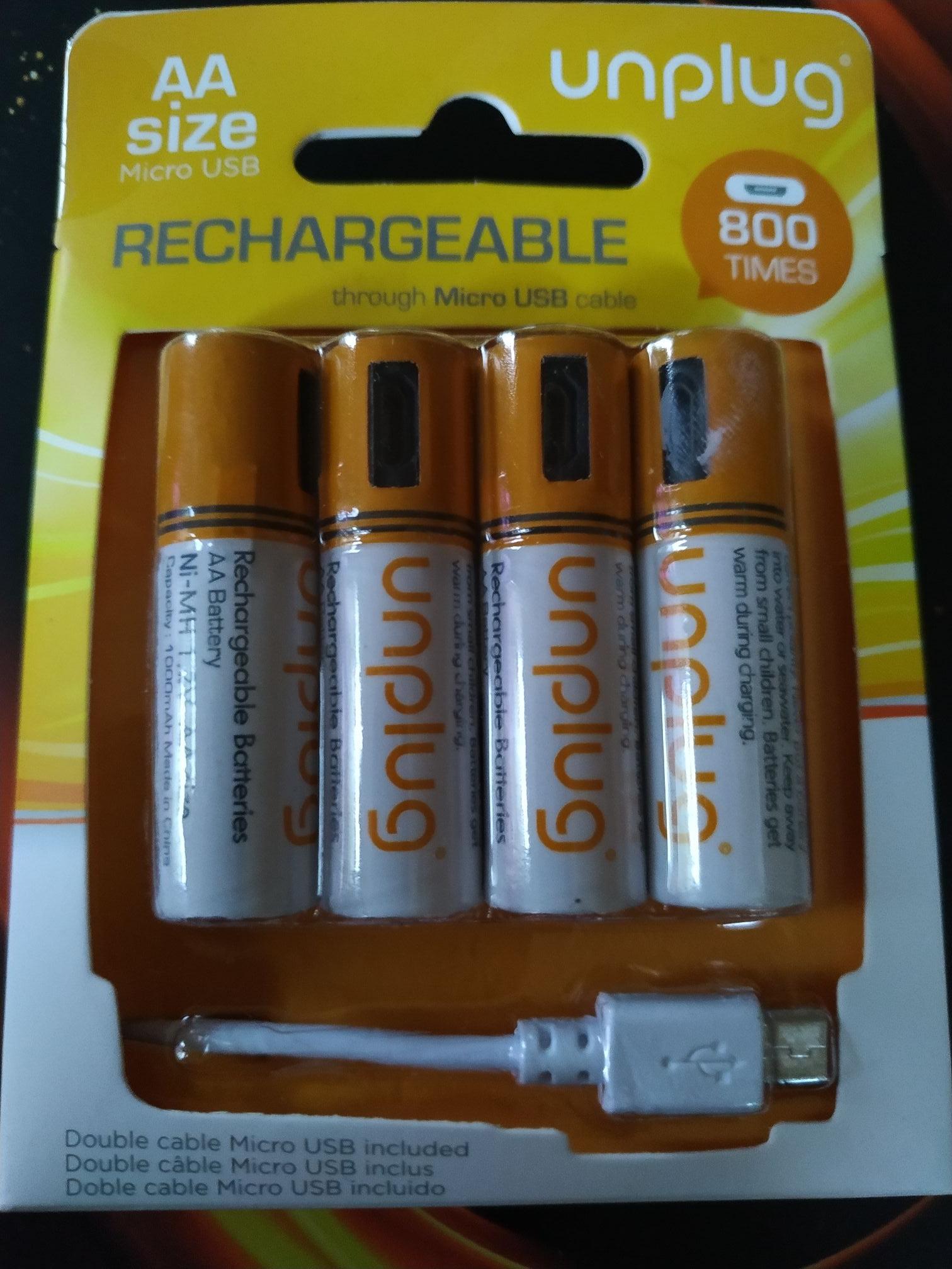 Unplug Oplaadbare AA-batterijen, 4 stuks, met micro-USB-kabel