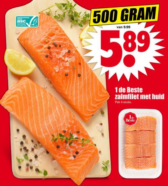Halve kilo zalm voor €5,89 bij Dirk