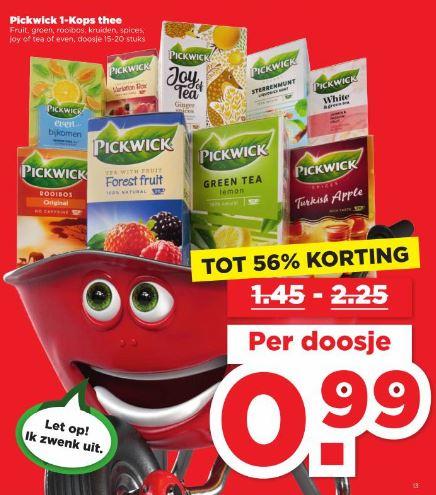 Bijna alle Pickwick 1-Kops thee €0,99 @ Plus