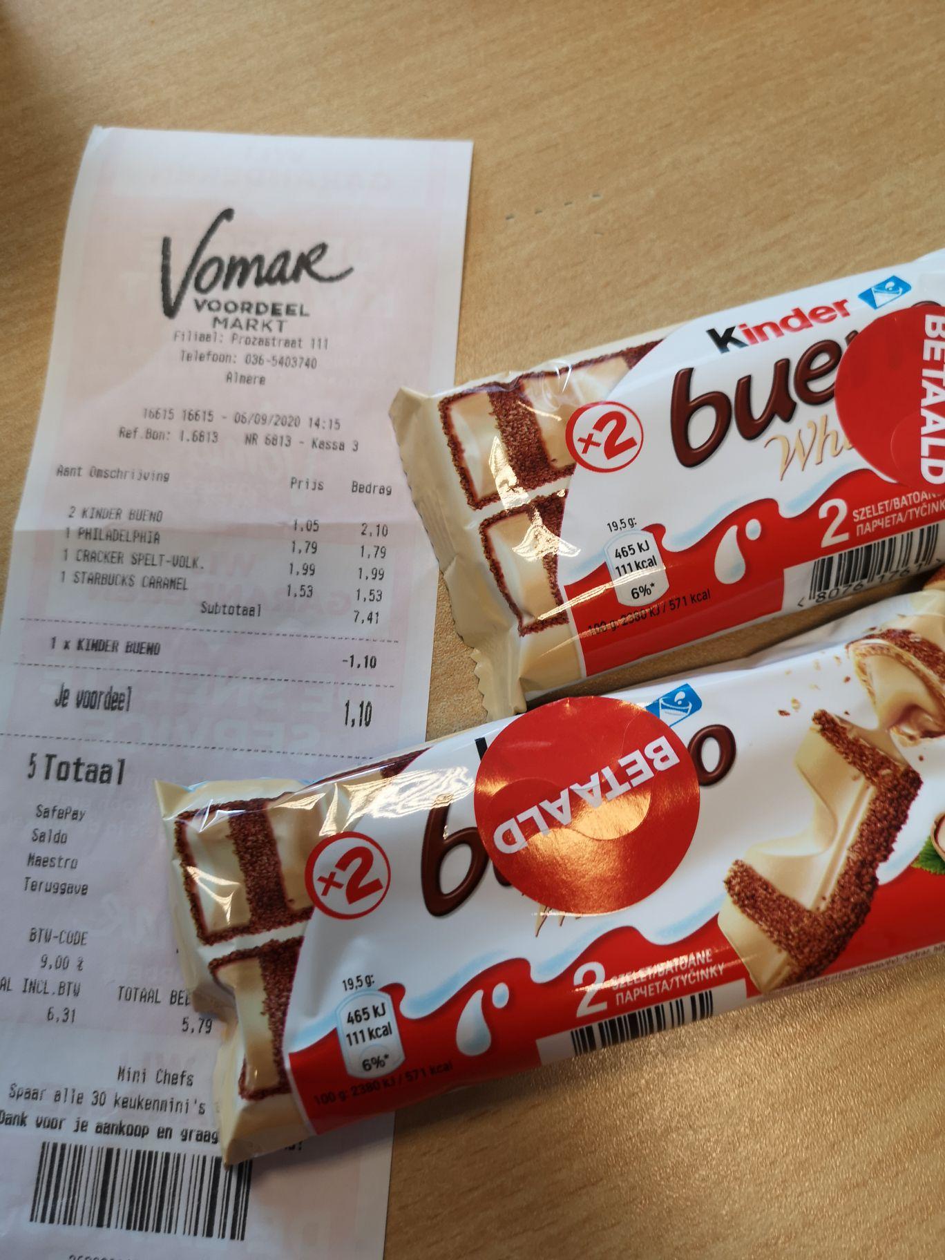 2 Kinder Bueno's voor 1 euro! @Vomar Litratuurwijk Almere