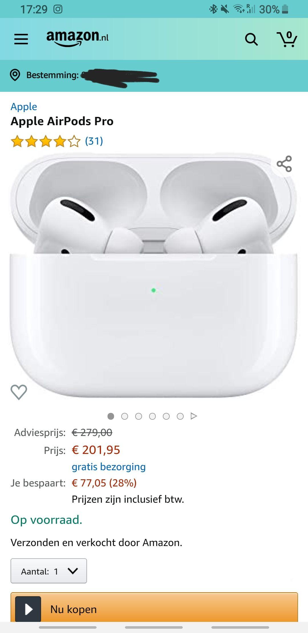 Apple airpods pro met korting @Amazon