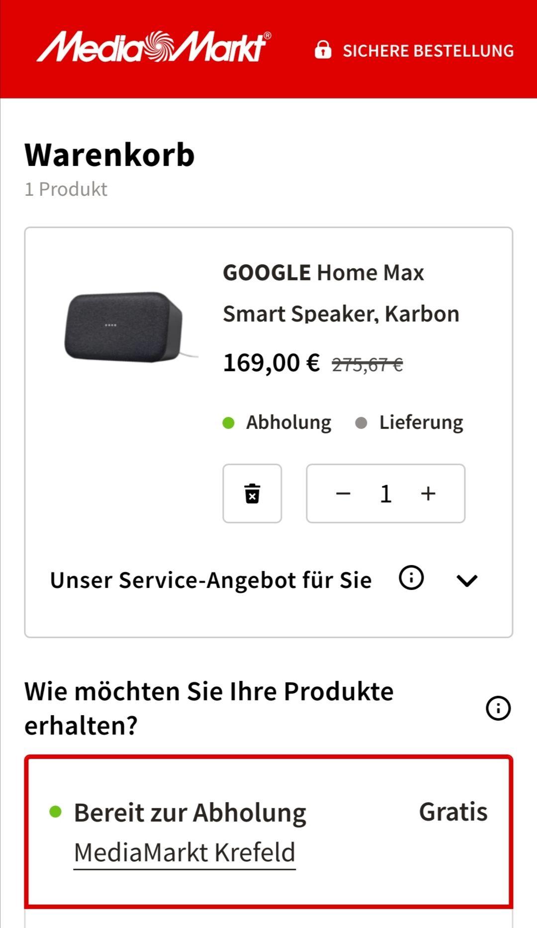 Duitsland grensdeal: Google Home Max (alleen afhalen)