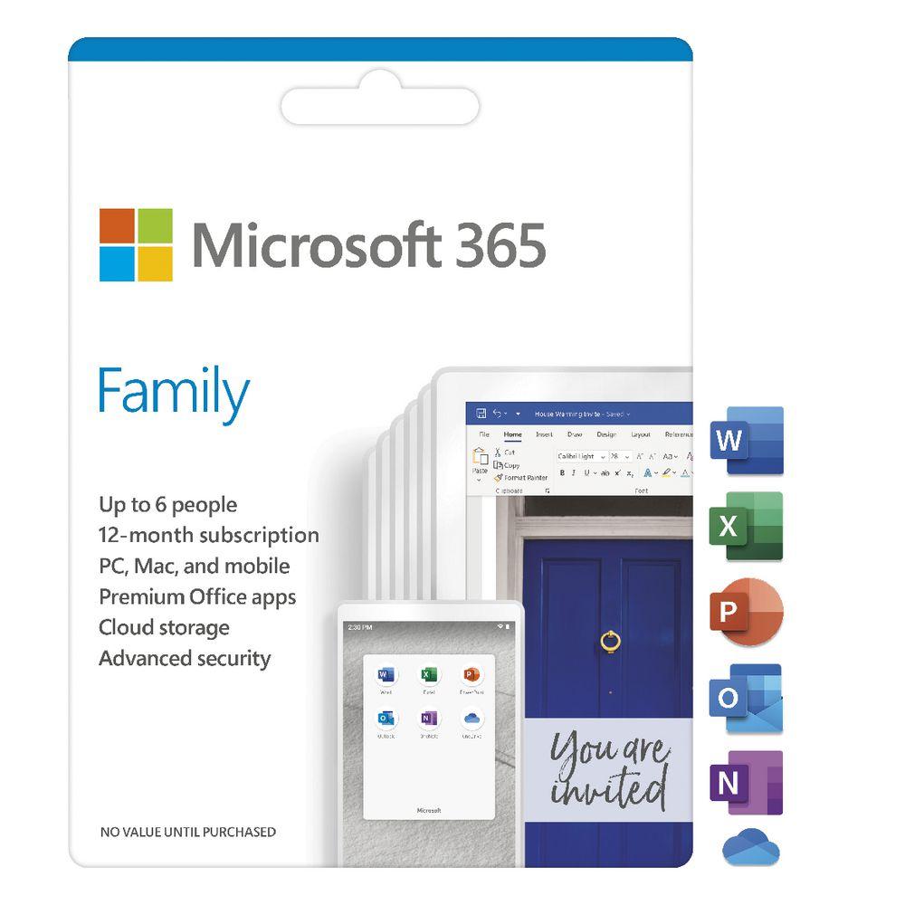 Microsoft 365 Family (6 gebruikers) 1 jaar abonnement