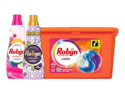3 flessen Robijn Klein & Krachtig wasmiddel of capsules voor €9,99 @ Hoogvliet