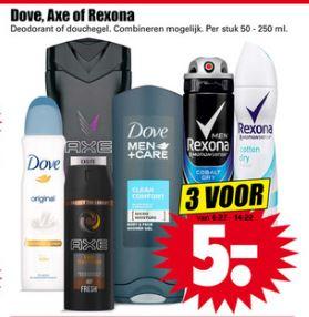 3 stuks Dove, Axe of Rexona voor €5 @ Dirk en @Dekamarkt