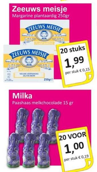 Almelo - 20 Milka paashazen €1 en 20 pakjes Zeeuws meisje voor €2