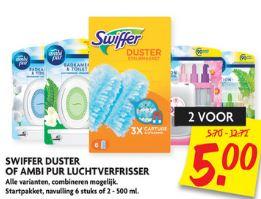 2 stuks Ambi Pur luchtverfrisser of Swiffer duster voor €5 @ Dekamarkt én @Dirk