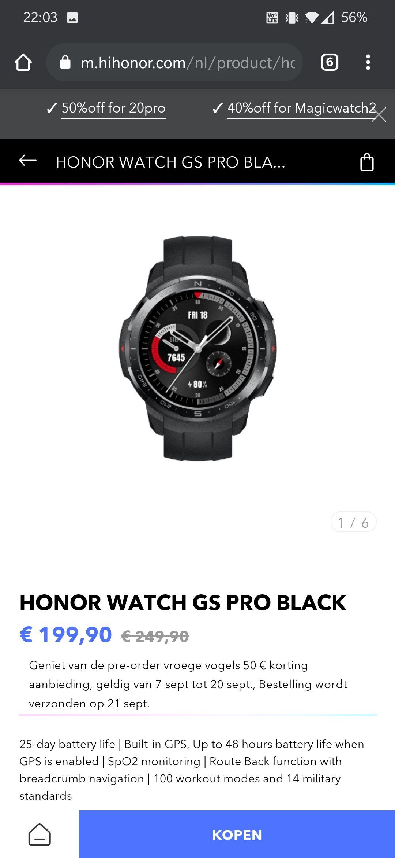 Honor watch GS Pro smartwatch
