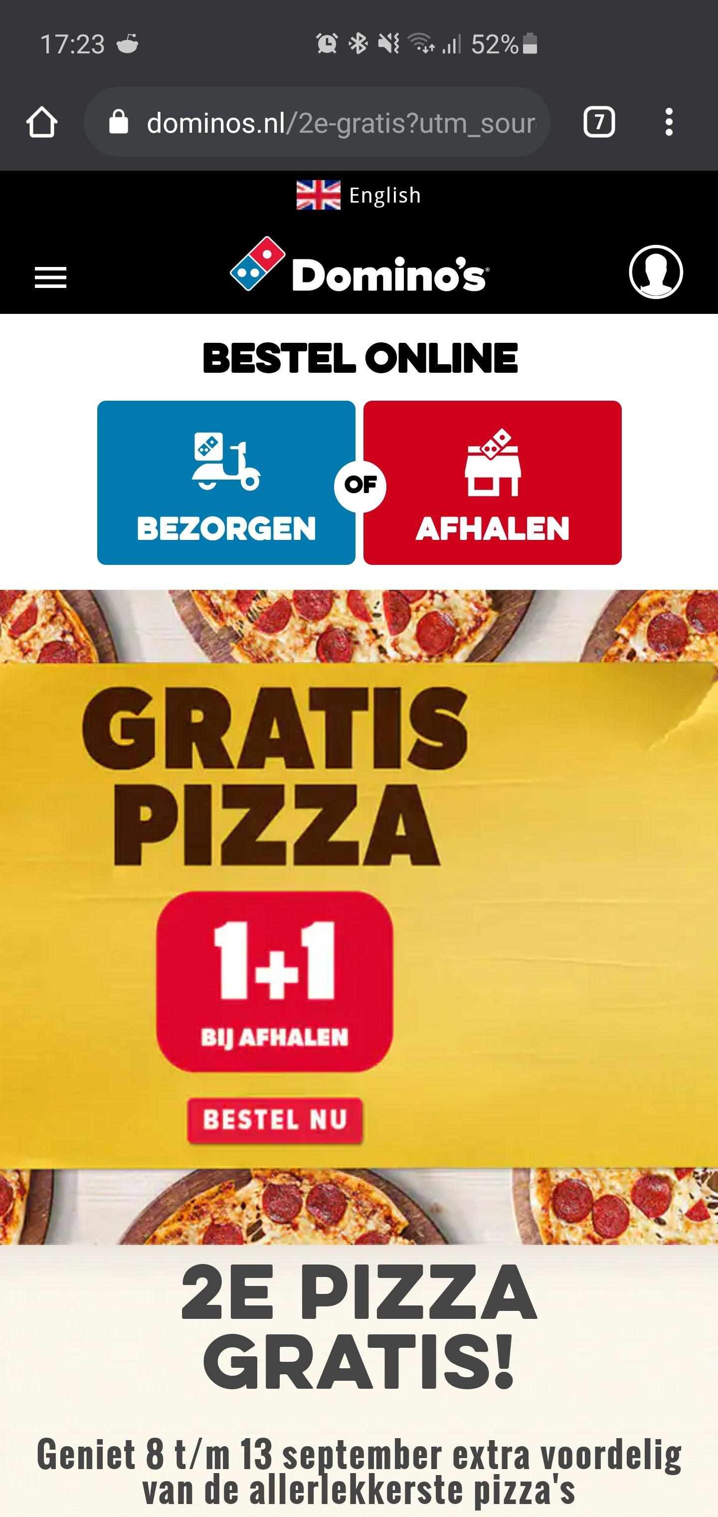 Domino's pizza 2de pizza GRATIS BIJ AFHALEN