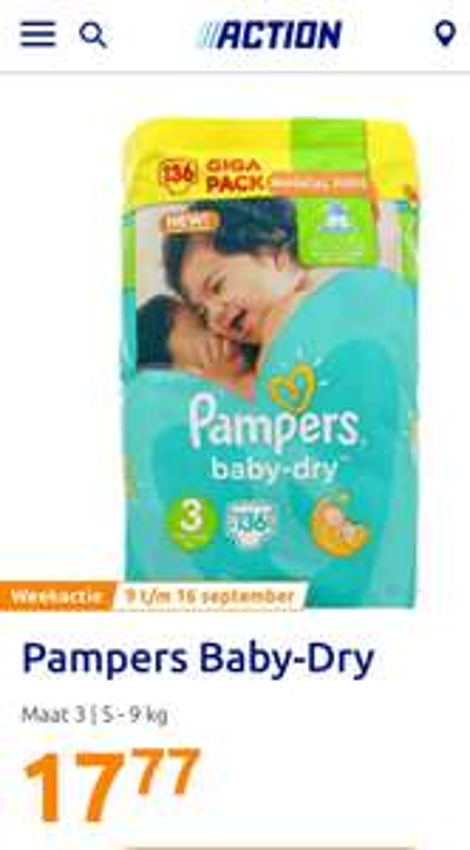 Giga pak Pampers Baby Dry maat 3 t/m 6