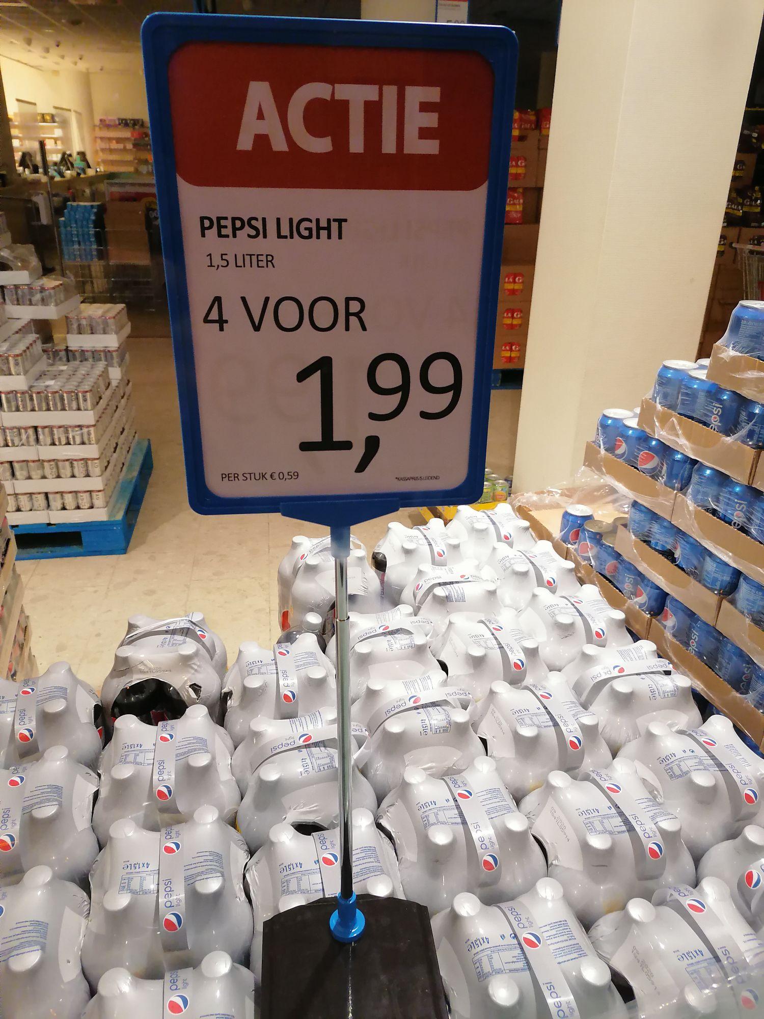 6 liter Pepsi Cola light (4 flessen) voor €1.99 @Die Grenze