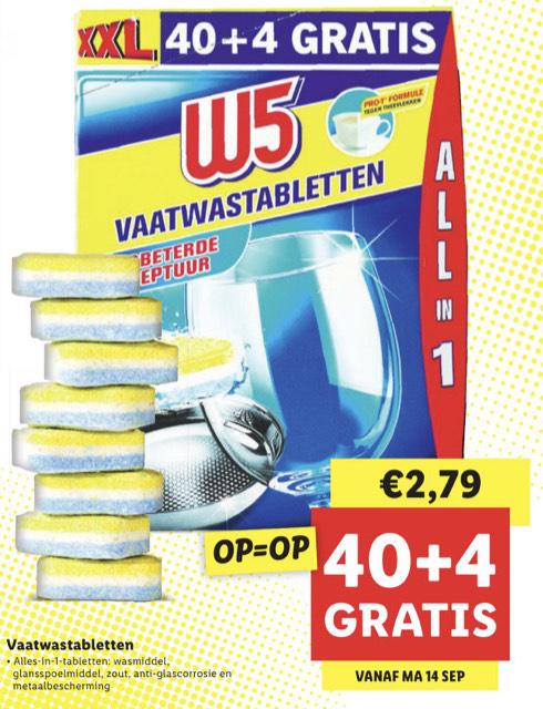 44 all in one vaatwastabletten van W5