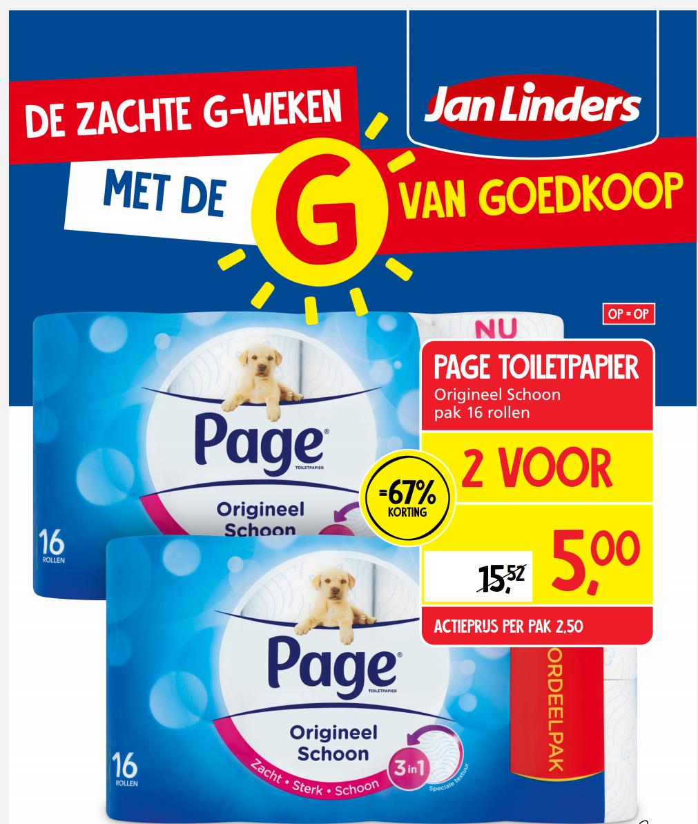 Page 3-1 toiletpapier. 1+1 gratis 32 stuk voor €5,-