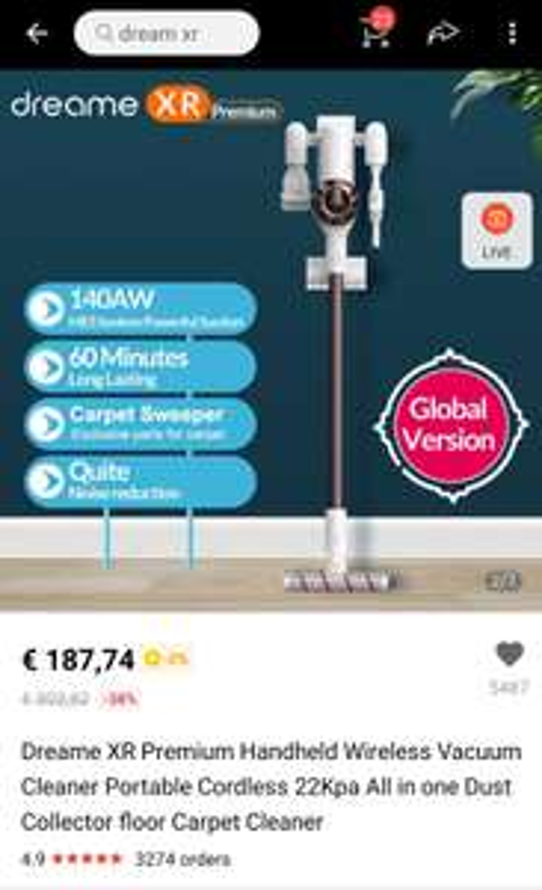 Xiaomi Dreame XR draadloze stofzuiger verzending vanuit Spanje of Polen