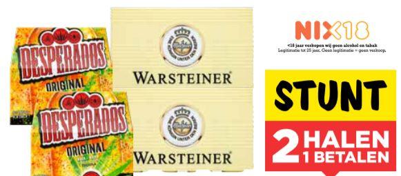 Krat Warsteiner + 12-pack Desperados 2 halen 1 betalen @Vomar