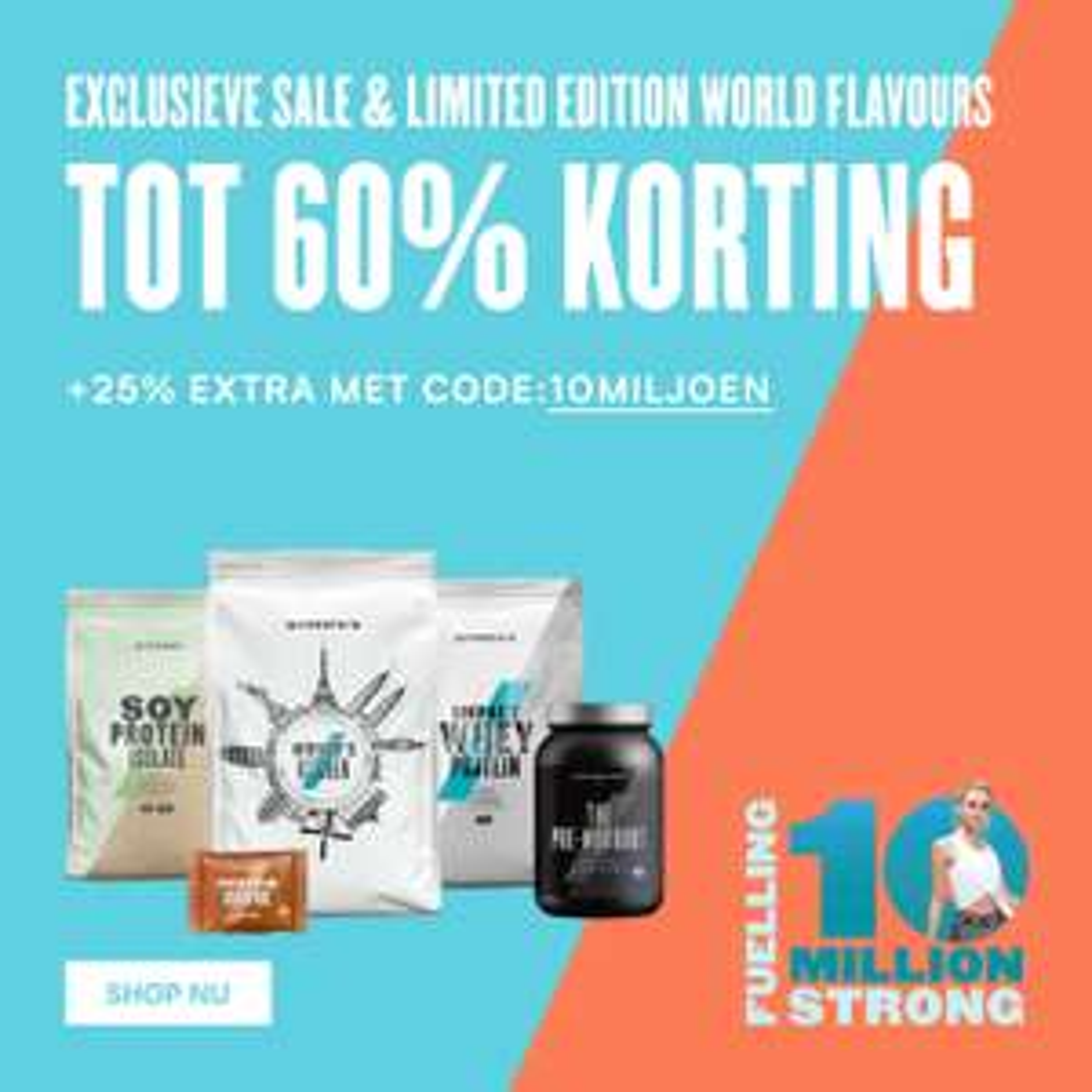 Sportvoeding, vitaminen etc. SALE tot 60% en 40% extra kortingscode