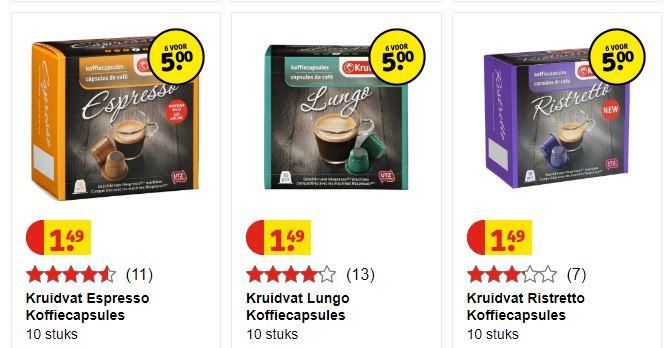 60 Kofiecapsules voor €5 @ Kruidvat (8,3ct/kopje)