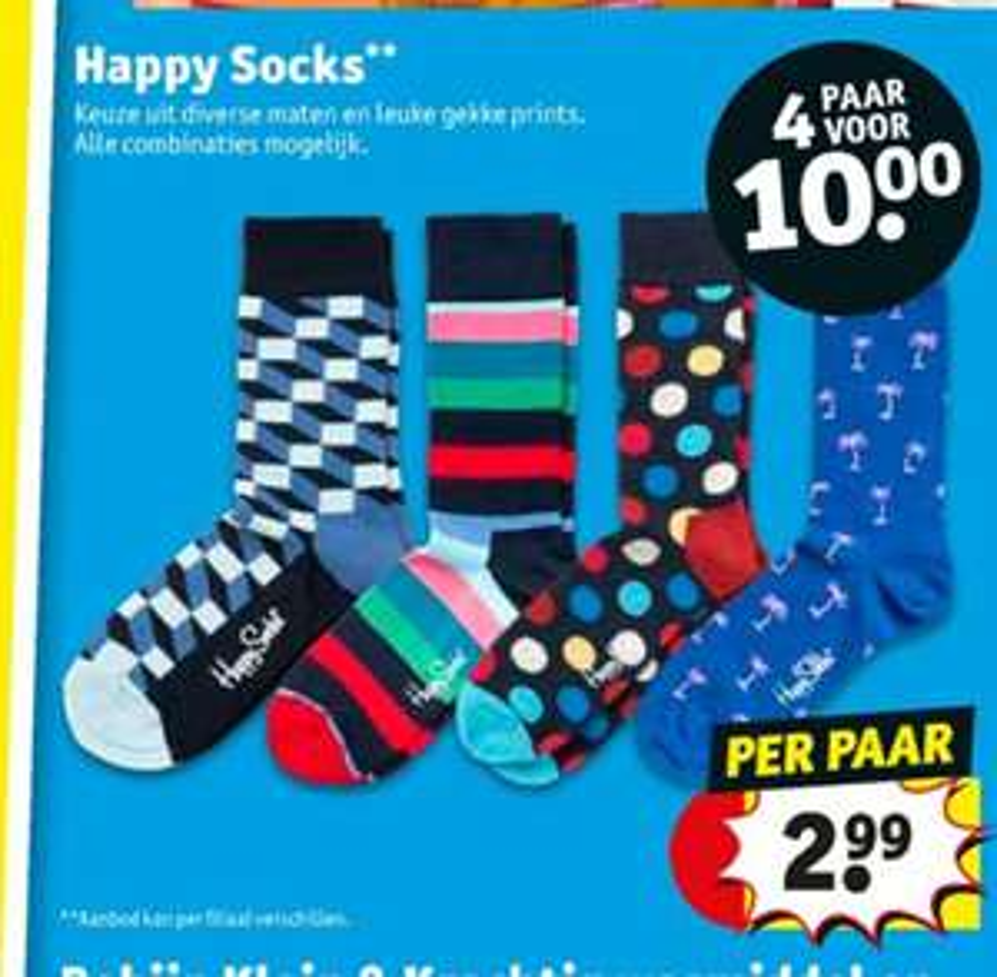 @Kruidvat. 4 paar happy socks €10, koopavond 20% extra korting