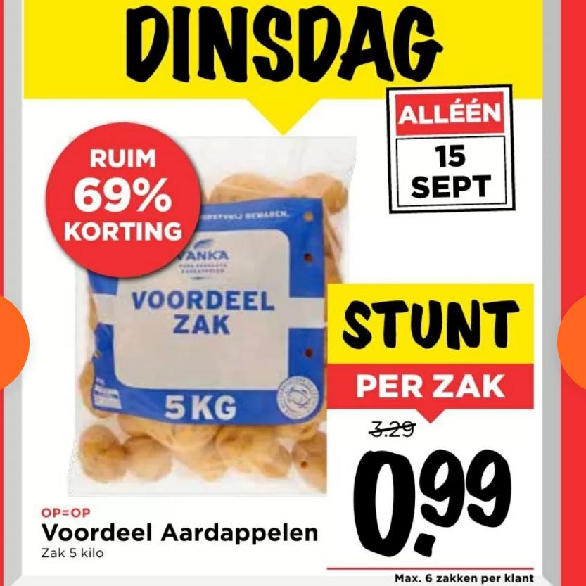 [Alleen dinsdag] Kruimige aardappelen voor €0,20 / kg @ Vomar