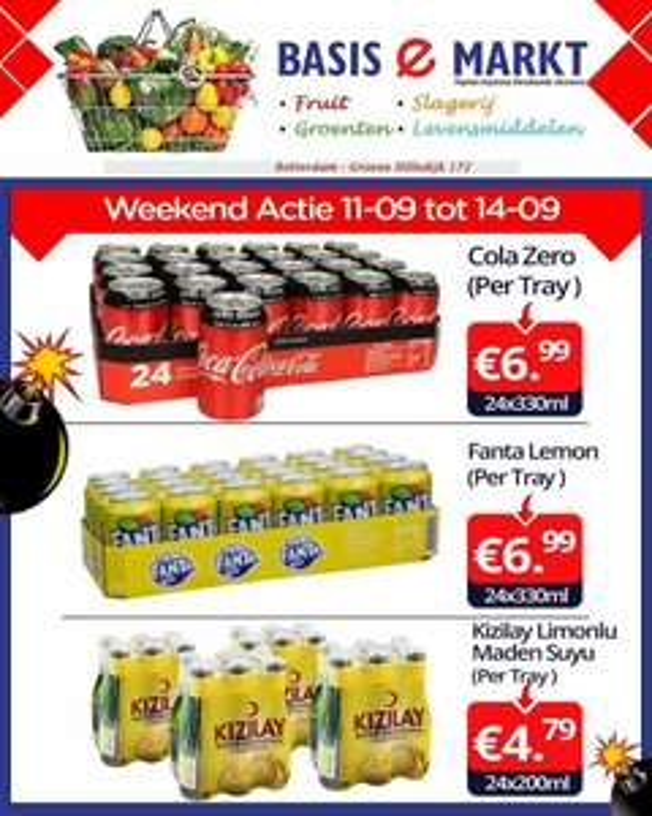 Cola Zero of Fanta Lemon 24 blikjes at Basis e markt Rotterdam-Zuid