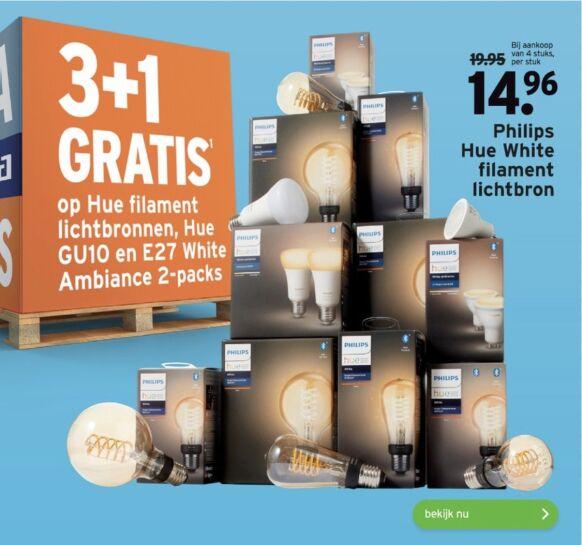 Philips Hue filament, GU10 en E27 Ambiance 2pack 3+1 gratis @Gamma