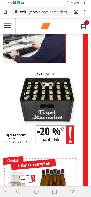 GRENSDEAL Tripel Karmeliet. Bij colruyt per bak 26.72