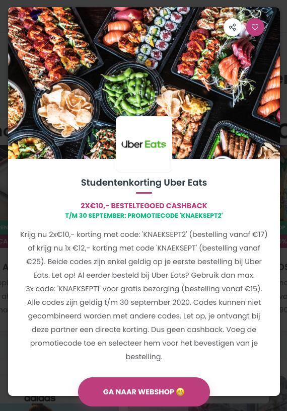 €12,- besteltegoed of 2x€10,- ook icm 2=1 gratis! @Uber Eats