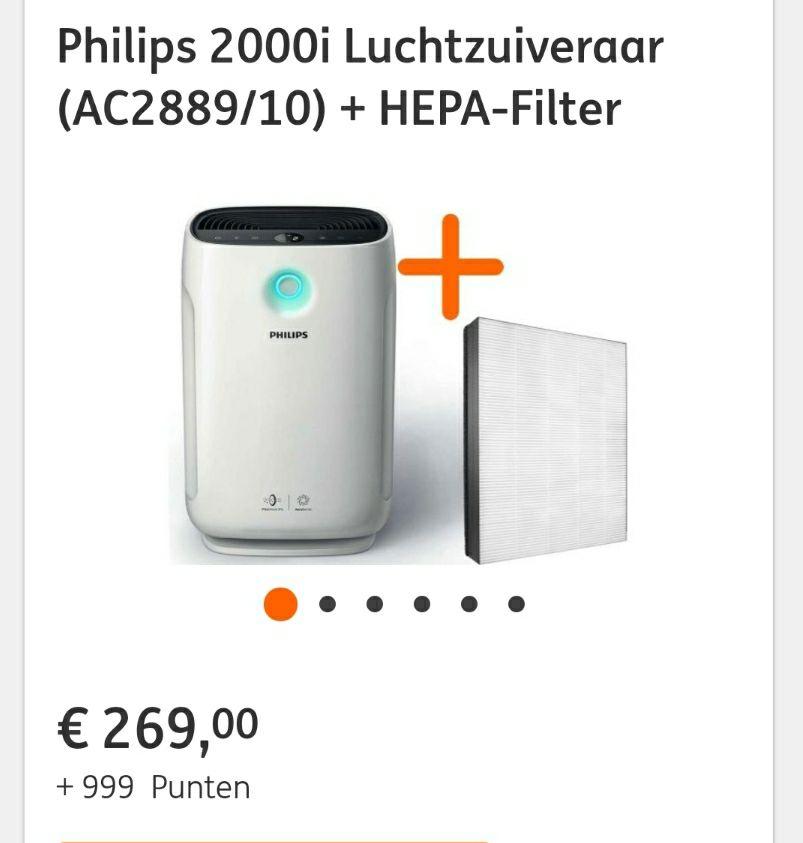 (ING ACTIE +999 punten) Philips 2000i Luchtzuiveraar (AC2889/10) + HEPA-Filter