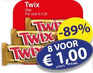8 * Twix voor €1,00 @ Die Grenze