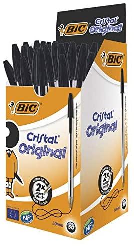 Bic Cristal Pennen Zwart Doos, 50 Stuks