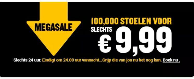 100.000 stoelen voor slechts €9,99. Bestemming zoals ibiza, Madrid, Malta en nog veel meer