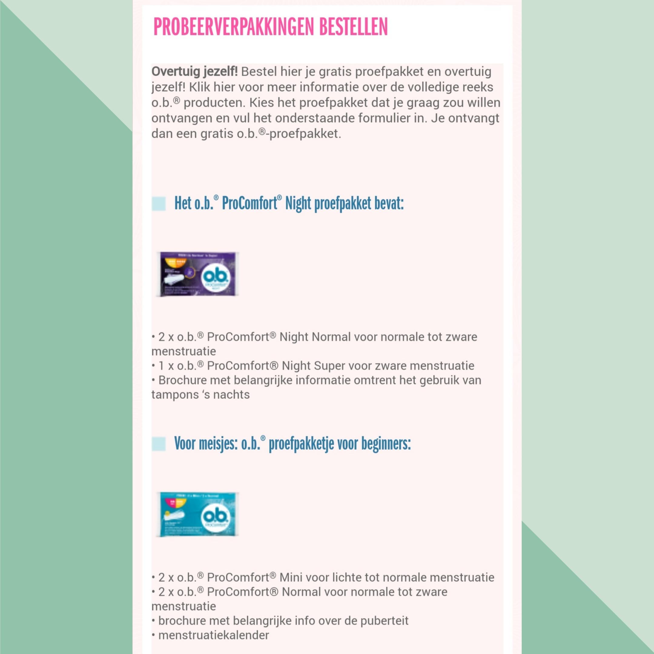 Gratis 2 probeerverpakkingen o.b. tampons @Ob-tampons.nl