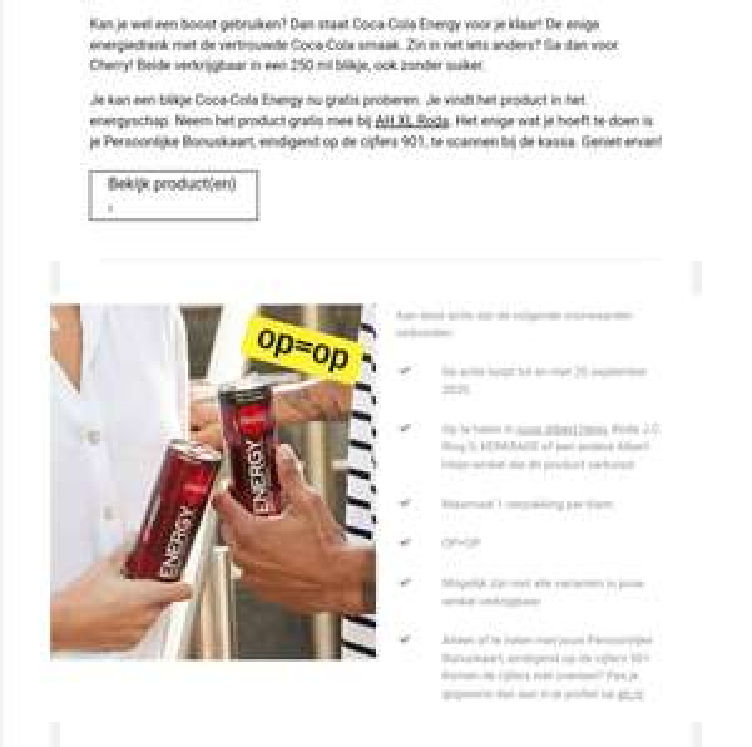 [Prijsfout] onbeperkt Coca Cola Energy