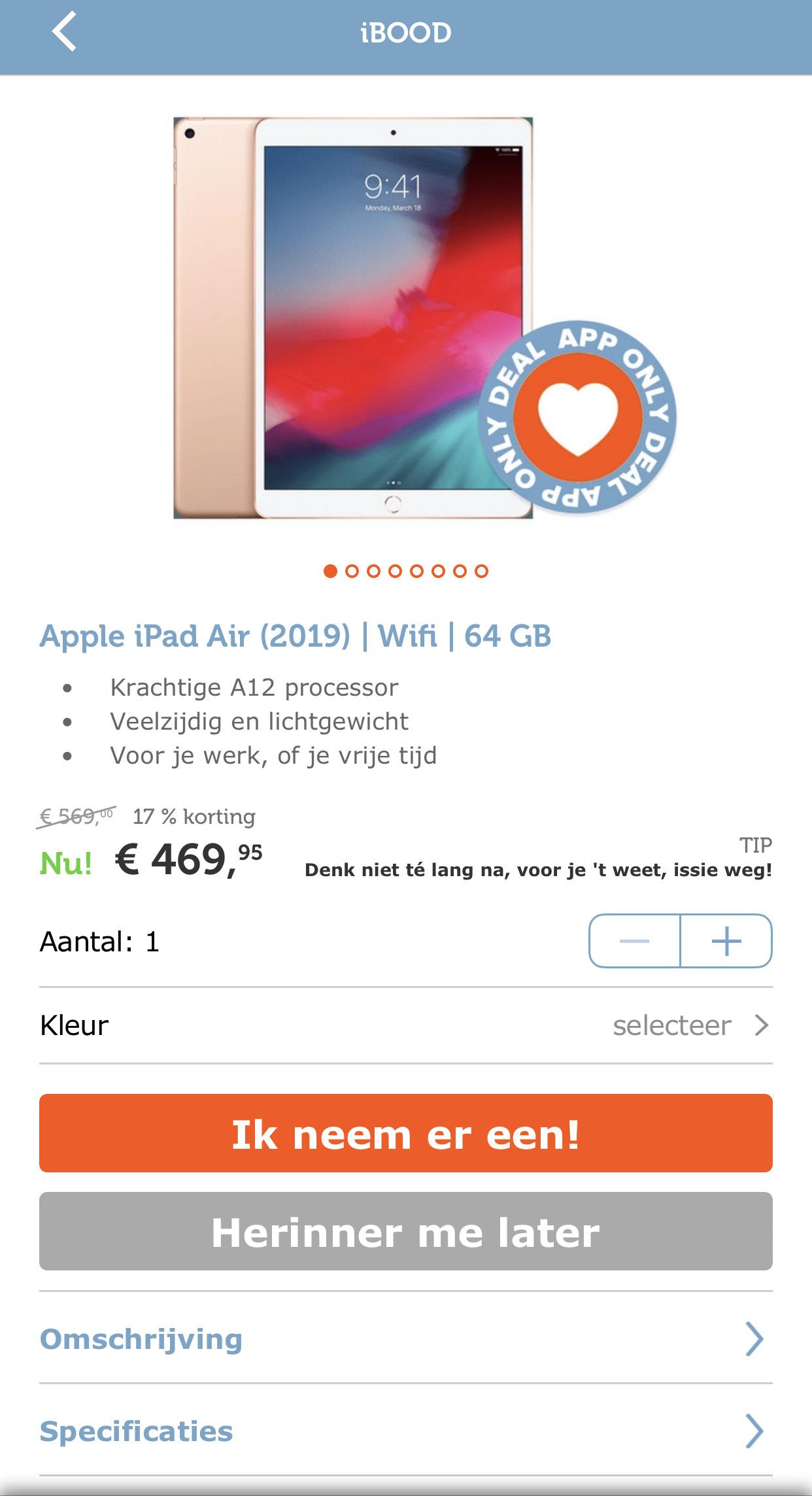 Apple iPad Air (2019) | Wifi | 64 GB (Kleur: Goud) @ iBOOD