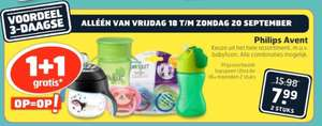 1+1 gratis op Philips Avent producten @ Trekpleister