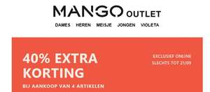 40% EXTRA korting [va 4 items] @ Mango Outlet
