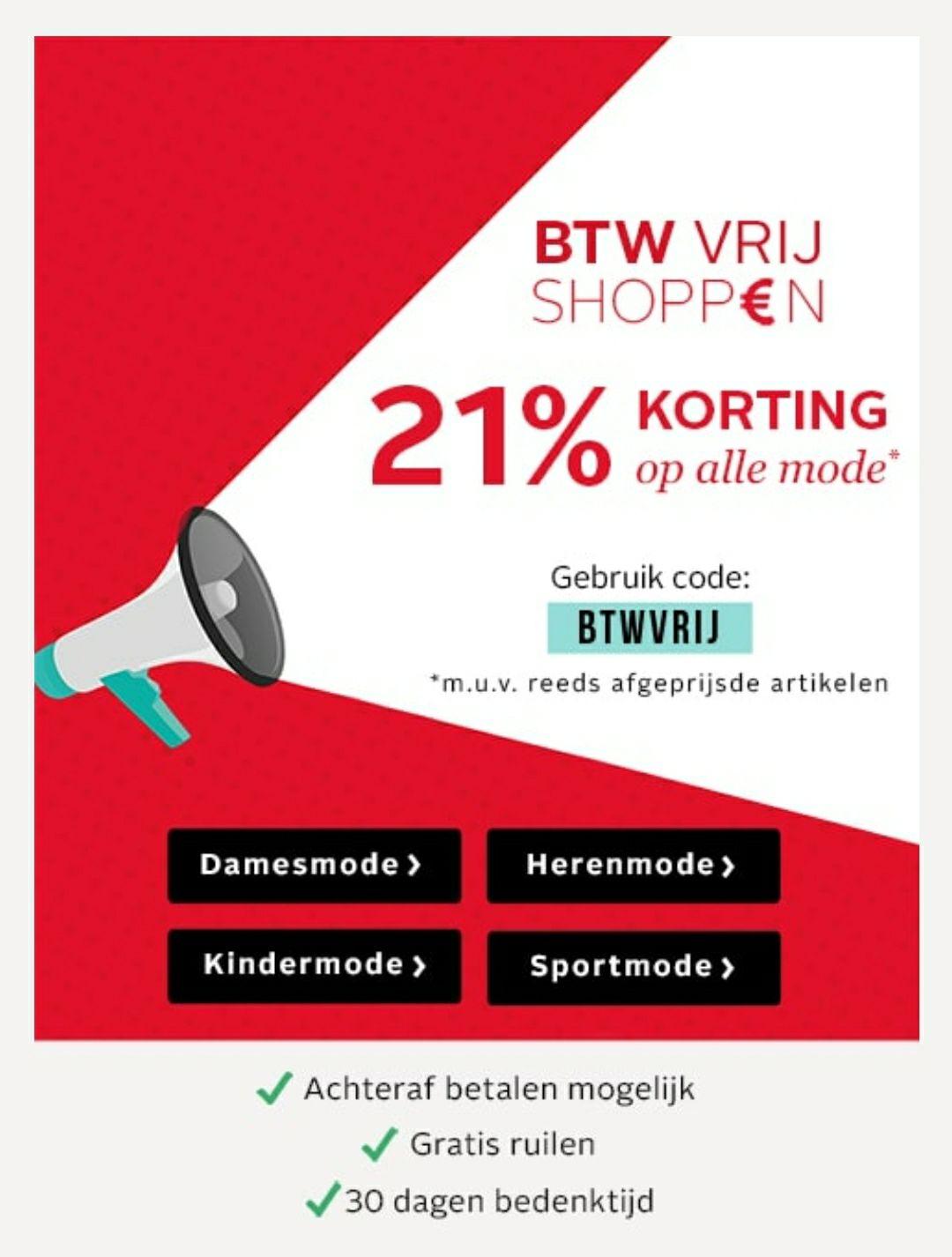 21% korting op mode