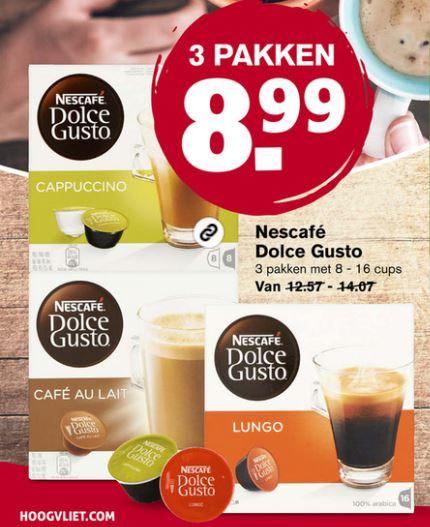 Nescafé Dulce Gusto 3 pakken voor €8,99 @Hoogvliet