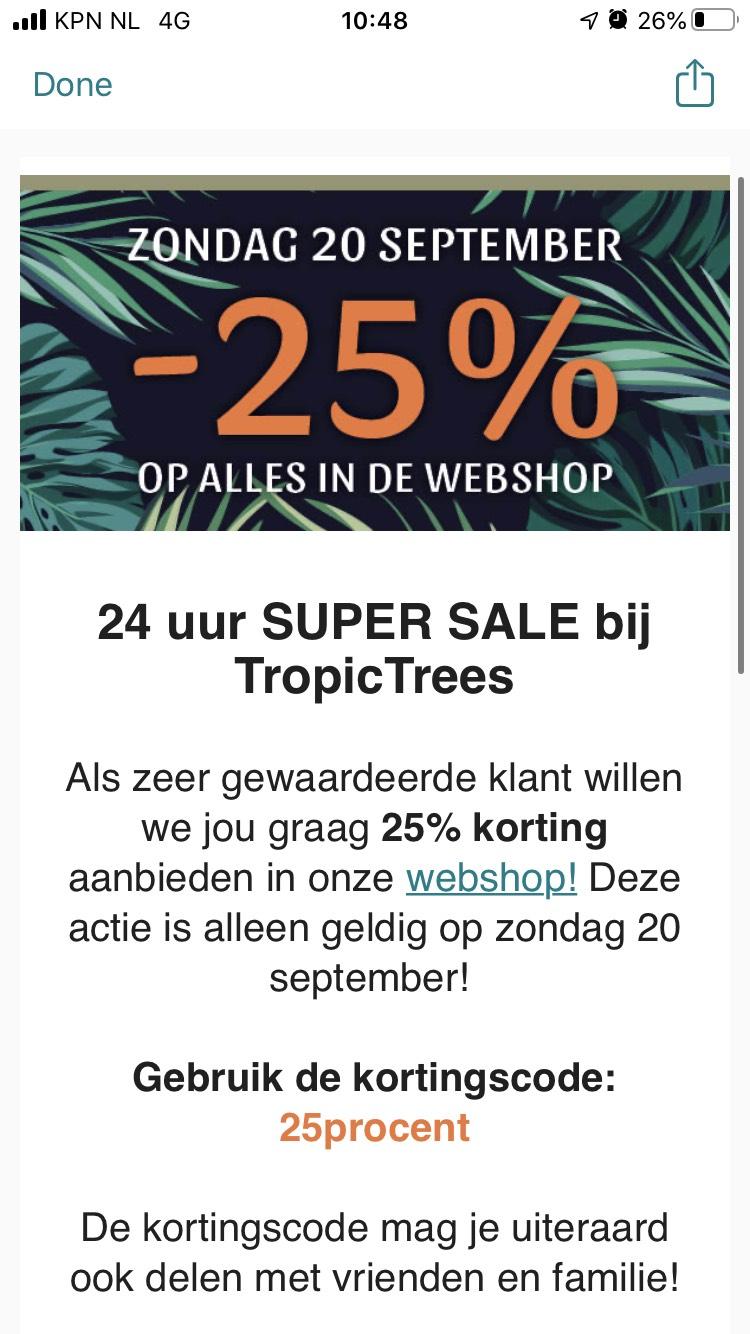 25 procent korting op alle tropische planten zoals palmbomen en olijfbomen @ TropicTrees