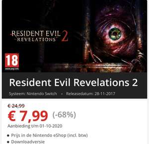 Resident Evil Revelations 1 en 2 nintendo switch @ nintendo E-shop