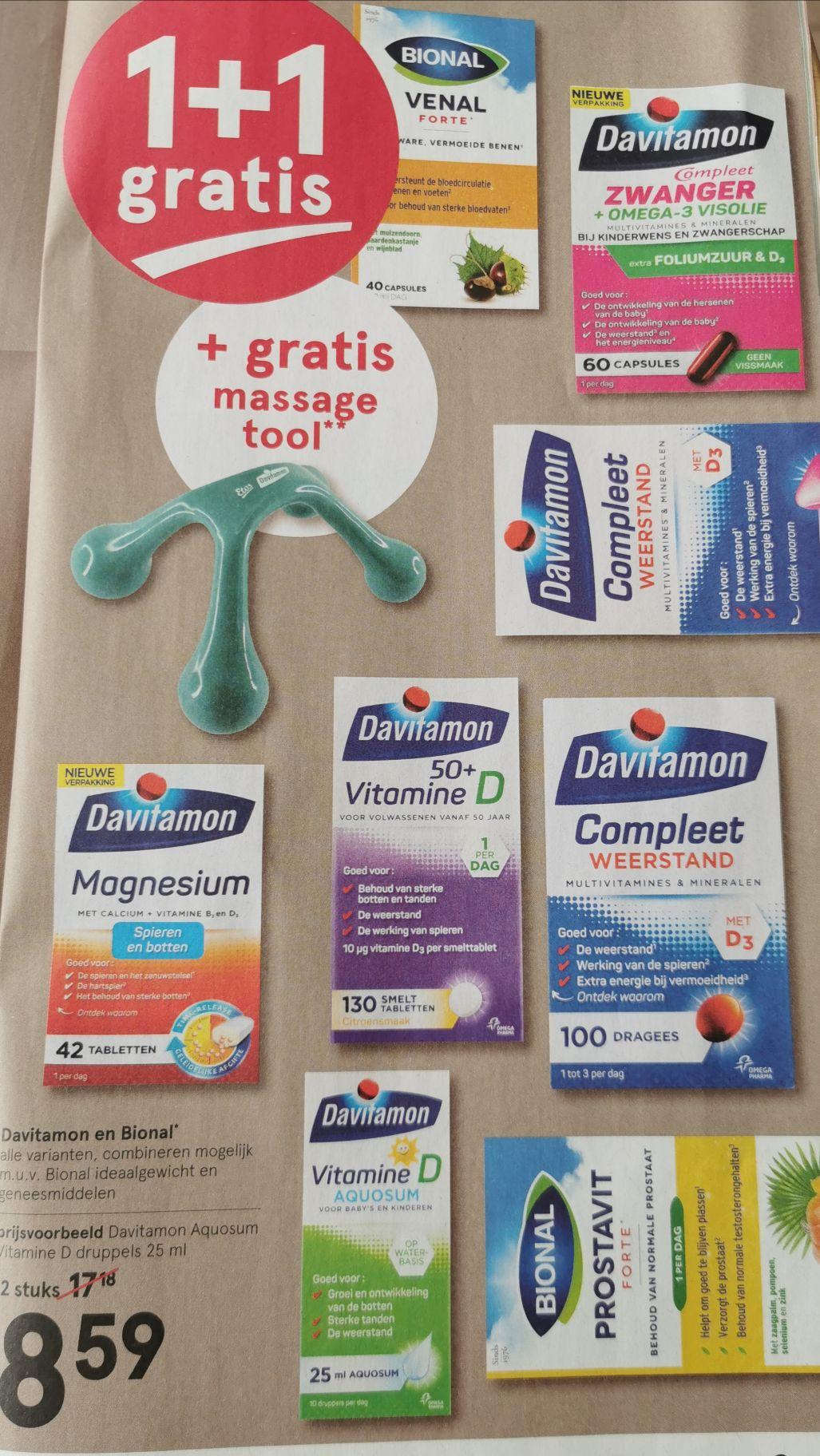 1 + 1 gratis op alle Davitamon en Bional + gratis massagetool twv € 9,95 @ Etos