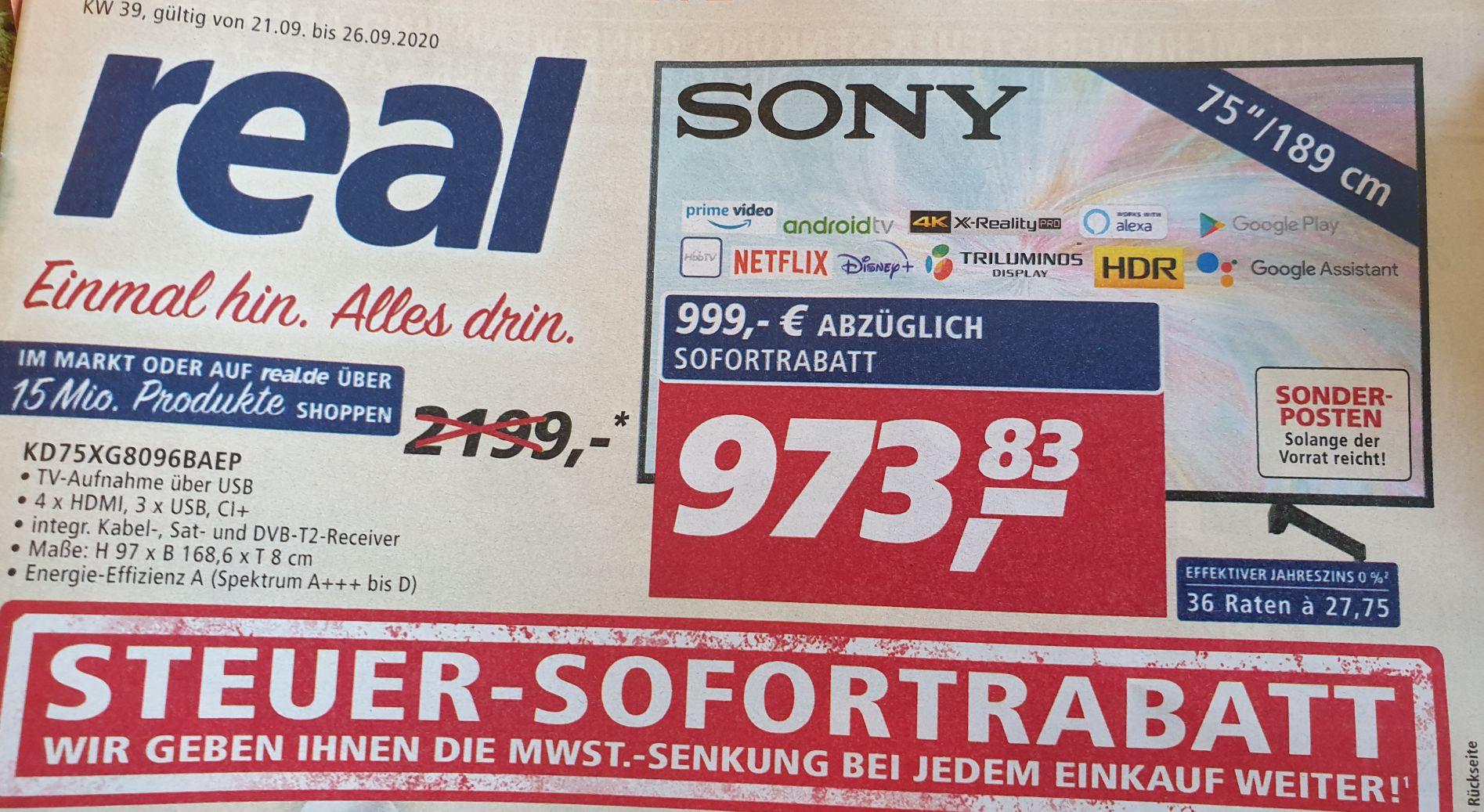 (Grensdeal) Sony KD-75XG8096 @Real