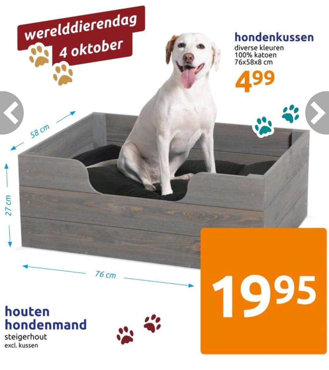[Vanaf woensdag] Houten hondenmand 76x58x27cm @ Action