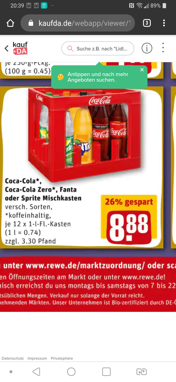 GRENSDEAL. Coca Cola bij rewe in de bekende harde literflessen in kratten @kaufDA