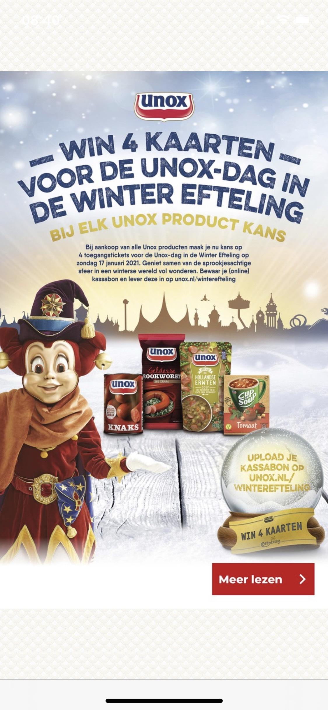 Win 4 tickets voor de Unox winterefteling 17 januari 2021