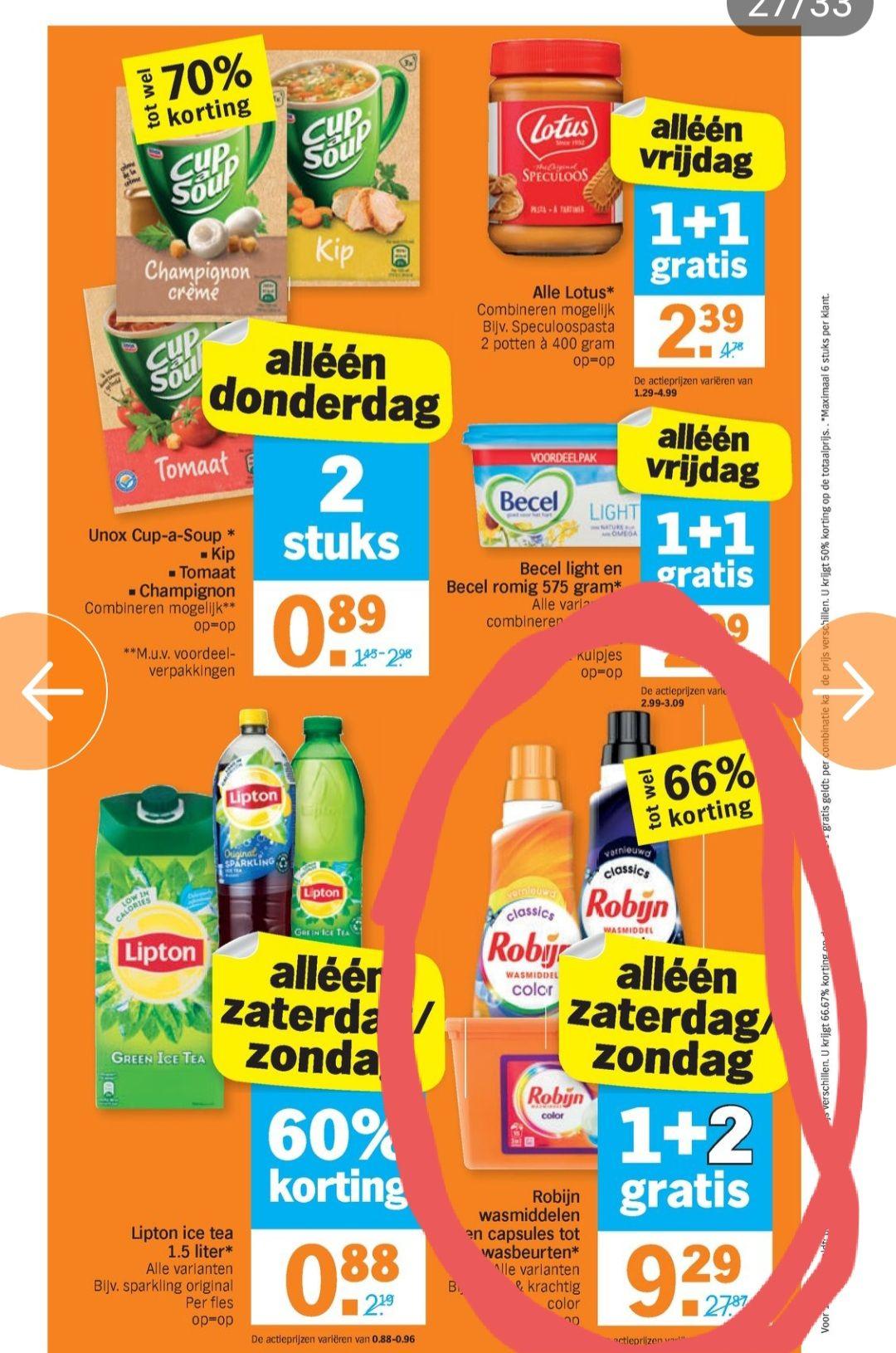 Zaterdag en zondag Robijn wasmiddel en capsules 1+2 gratis @Albert Heijn