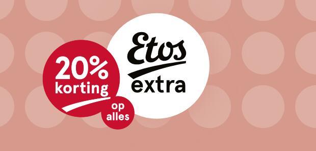 20% korting op alles, zie email @ Etos Extra