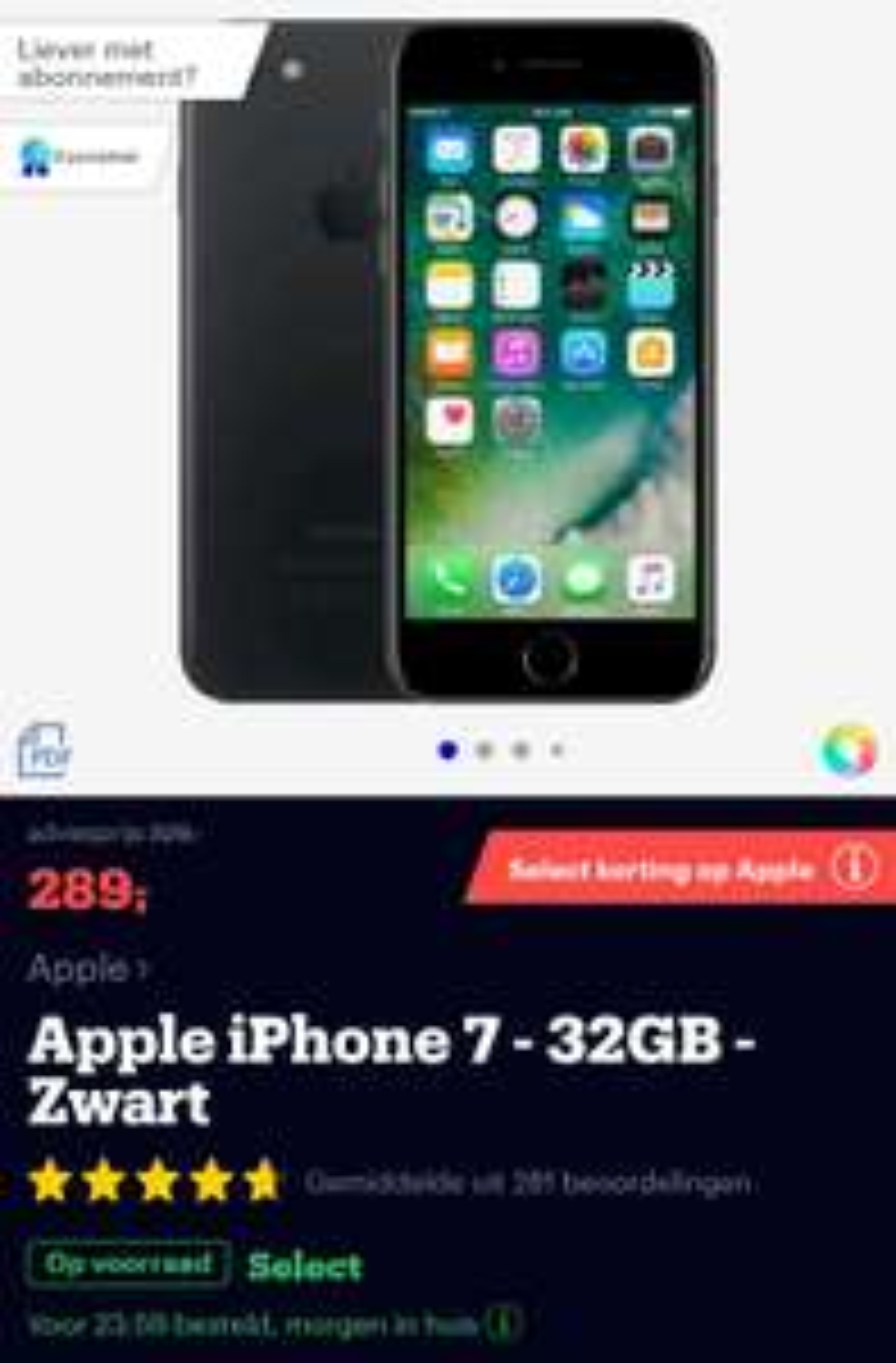Bol.com Select aanbieding: iPhone 7 32GB zwart