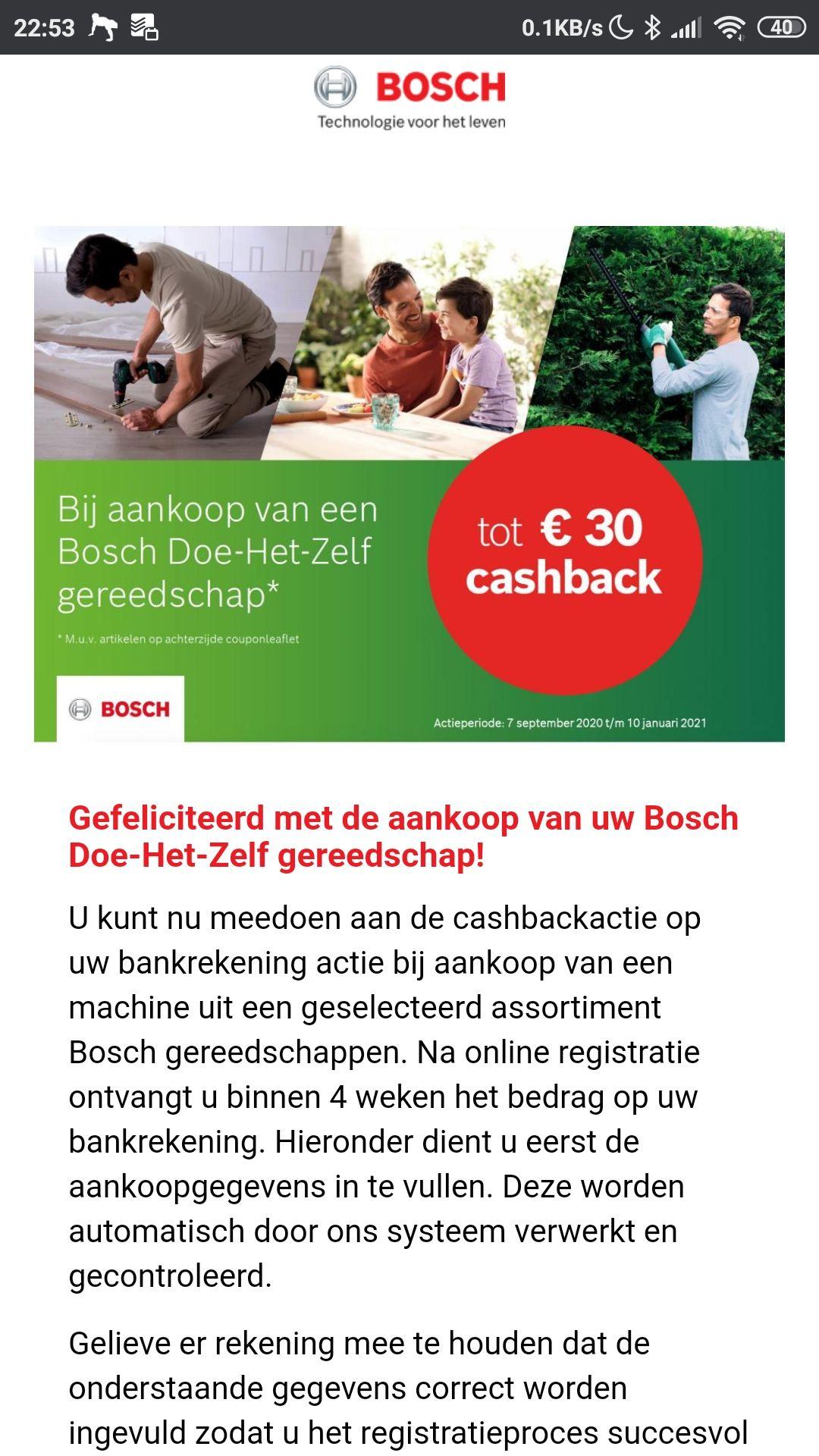 Bosch gereedschap cashback tot €30 retour of gratis accu